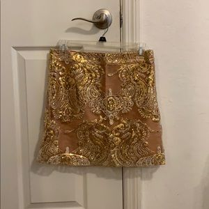 Sequined gold skirt